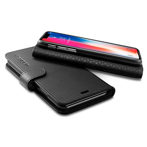 Spigen Preklopna futrola za iPhone X/Xs Crna 063CS25120