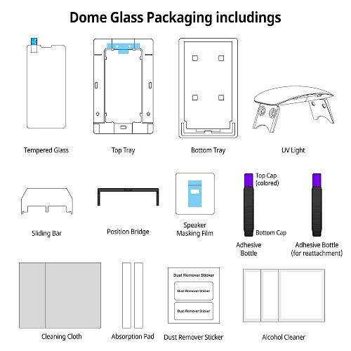 Premium Whitestone® Dome Glass Zaštitno staklo za ekran za iPhone 11 Pro Max/iPhone Xs Max (UV Glass)