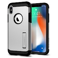Spigen iPhone X Case Tough Armor Satin Silver 057CS22163